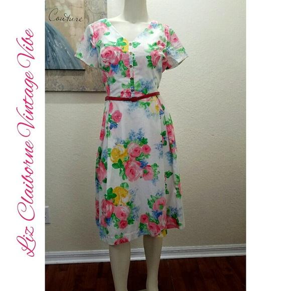 652df34efcf1 Liz Claiborne Dresses   Skirts - Liz Claiborne Fit   Flare Dress Retro  Short Sleeve
